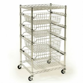 4 Drawer Steel Wire Basket Organizer Barage/Closet/Kitchen