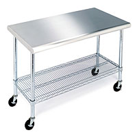 "Work Table with Stainless Steel Top - 49"" Long"