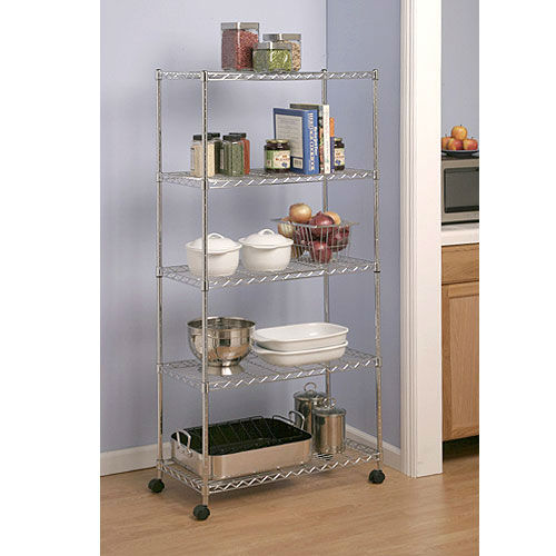 Reviews 5 shelf kitchen chrome wire shelving with wheels for Off the shelf kitchen units