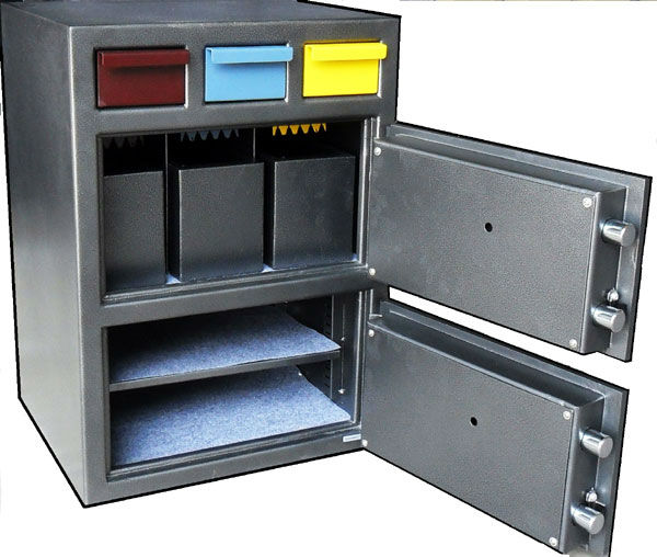 3D-2820MM 3 compartments drop safe w/ 2 doors - Depository Safe