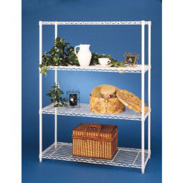 18 x 48 x 63 4-Shelf Wire Shelving System, White Epoxy